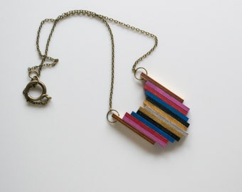 Hopi Wooden Pendant Necklace in Silver, Gold, Navy, Cobalt, Cherry, Blush and Natural brown