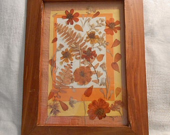 "AUTUMN PRESSED FLOWER Collage ""Cosmic Cosmos"" Ferns Coreopsis Cornflowers Larkspur Pansies Phlox, Orange Yellow White Papers, 11 x 15 Frame"