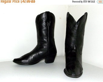 Black on Black Dingo Leather Western Cowboy Boots size 5 M