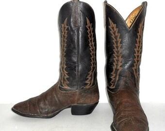 Mens 10 D Exotic Cowboy Boots Anderson Bean Distressed Vintage Dark Brown Western