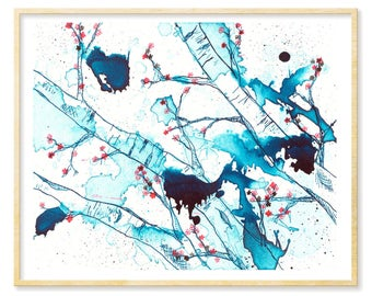 Woodland Nursery, Cherry Blossoms, Forest Wall Art, Birch Trees, Giclee Print,Blue Art Print, 8.5x11,11x14, Enchanted Forest, Abstract Print
