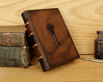 Brown Leather Journal, Tooled Decoration - Marbled