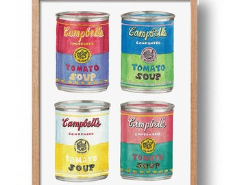 Campbell Soup PRINTABLE FILE: 4CAN, andy warhol inspired, andy warhol print, warhol prints, campbell's soup can, pop art,