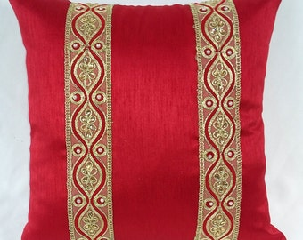 red silk decaretve  pillow.  art  silk luxury pillow with gold  sarry border  festive season throw pillow cover 17inch 2 in stock