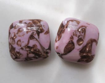Vintage Venetian Glass Square Pillow Beads - pink and goldstone - Murano Lampwork