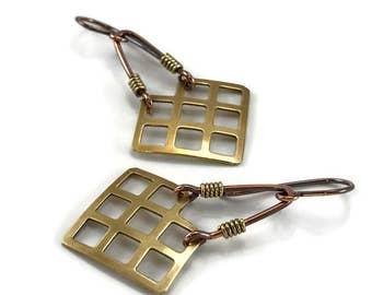 Mixed Metal Earrings Wire Wrap Earrings Handmade Earrings Rustic Metal Earrings Dangle Earrings Copper Earrings Rustic Earrings Wire Jewelry