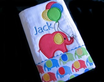 Personalized Baby Burp Cloth - Appliqued - Elephant with Balloons