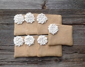 7 Bridesmaid Purses, Ready to Ship Wedding Clutches, Rustic Wedding Gift, Matron of Honor Gift, Burlap Wedding Bags, Thank You Gifts