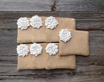 Wedding Clutches, Set of 7 Bridesmaid Clutches, Wedding Party Gifts, Bachelorette Bags, Burlap Bags, Burlap Lace Bags, Rustic Weddings