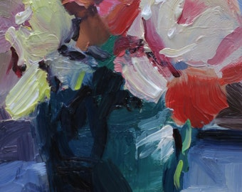 Red.....impressionistic, contemporary, floral, red flower, camellia, impasto....WET WET WET