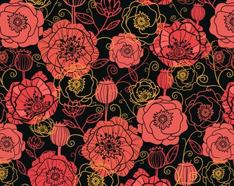 Red Poppy Fabric - Red Poppies On Black By Oksancia - Modern Red Flower Cotton Fabric By The Yard With Spoonflower