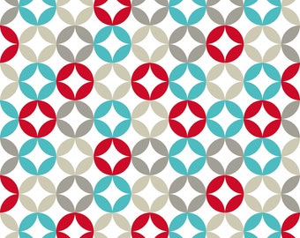 Retro Circle Fabric - Soft Circles - Turquoise By Newmomdesigns - Red Blue Gray Geometric Cotton Fabric By The Yard With Spoonflower