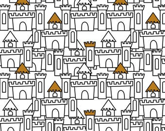 Black and White Castle Fabric - Castles By Newmomdesigns - Baby Nursery Decor Cotton Fabric By The Yard With Spoonflower