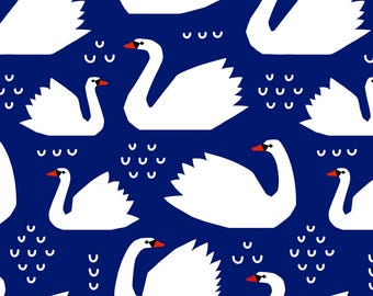 Swans on Blue Fabric - Swans - Navy By Mirabelleprint - Swans Nursery Animal Cotton Fabric By The Yard With Spoonflower