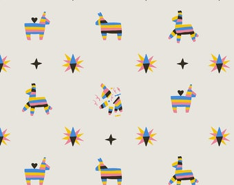 Pinata Fabric - Happy Piñatas Small By Meghannrader - Festive Mexican Pinata Birthday Donkey Cotton Fabric By The Yard With Spoonflower