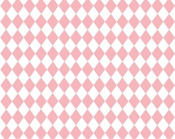 Pink Diamonds Fabric - Diamonds In Pink And White By Thislittlestreet - Baby Girl Nursery Cotton Fabric By The Yard With Spoonflower