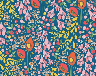 Spoonflower Fabric - California Blooms In Blue By Thislittlestreet - Spring Wedding Floral Cotton Fabric By The Yard With Spoonflower