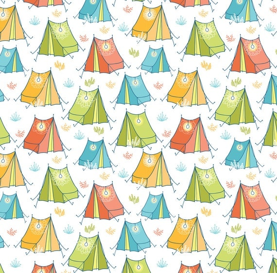 Kids colorful tent fabric camping by oksancia modern for Modern kids fabric