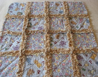 Noahs Ark Rag Quilt Baby Boy Rag Blanket Minky blanket Baby boy Showe Gift Crib Rag Blanket Stroller Blanket 29x29 new