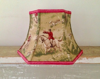 Equestrian Uno Lamp Shade, Threaded Lampshade, Screws onto Floor Lamp Socket, hard to find, Designer Fabric, Horse Lover, Fox Hunt, 7x12x8.5