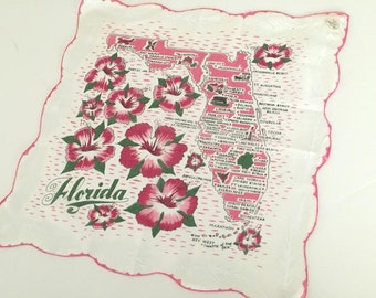 Vintage Florida handkerchief hankie pink with hibiscus flowers mint unused souvenir kitsch Floridiana 1950s