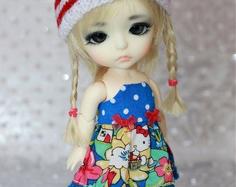 SALE - LATI Yellow PukiFee - Hello Kitty Series - Summer Flowers - DRESS - Royal Blue Dotted - Red -Yellow