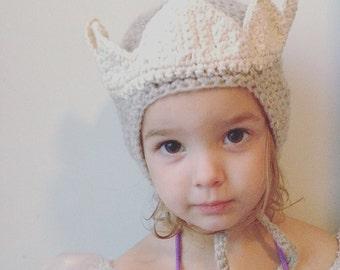 Princess Crown Bonnet - hand made knit baby bonnet - baby crown - photo prop - gray bonnet - organic baby crown - princess crown knit