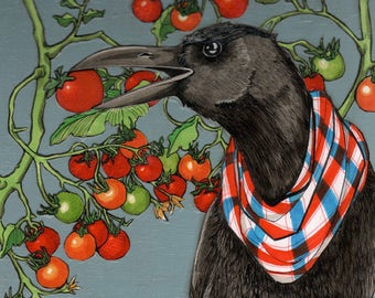 Crow with Tomatoes- Small Print 4.5x4.5