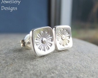 Sterling Silver Stud Earrings - FLOWER SQUARES 3 - Daisy - Little Flowers Studs - Handstamped Textured Metalwork Jewelry - Shiny or Oxidised