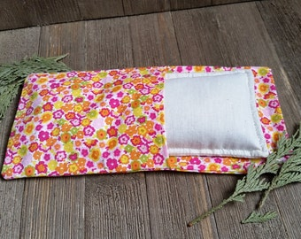 Aromatherapy Eye Pillow Flax Organic Lavender Mint Yoga Savasana Removable Cover Pink Floral Relaxation Soothing Natural Microwave Compress