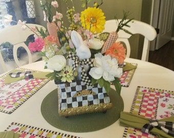 MacKenzie courtly check ribbon on my custom painted Easter Floral