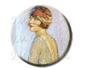 "15% OFF - Pocket Mirror, Magnet or Pinback Button - Wedding Favors, Party themes - 2.25""- Vintage 1920s Flapper with Headpiece MR354"