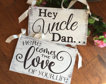 Rustic, Ring bearer signs , set of 2, Uncle here comes the love of your life, l ringbearer alternative, fun for guests, KerriArt item 00088Q