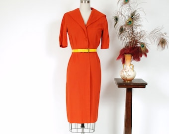 Vintage 1950s Dress - Darling Pumpkin Orange Rayon Linen 50s Day Dress with Wiggle Cut and Sailor Collar