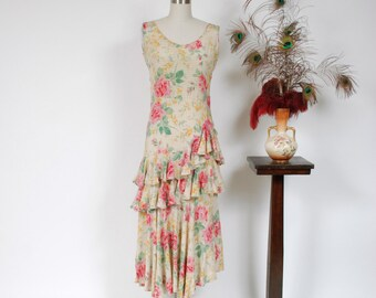 Vintage 1930s Dress - Gorgeous Rose Printed Early 30s Silk Dress With Metallic Gold Stripes and Tiered Asymmetric Ruffles