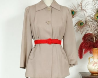 SALE - Vintage 1940s Coat - Classic Late 40s Gabardine Cropped Swing Jacket in a Soft Dove Grey