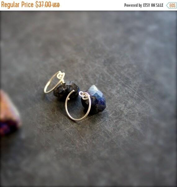 ON SALE Dark Labradorite Gemstone Dangle Drop Earrings Stone Sterling Silver Black Blue Night Handmade Jewelry