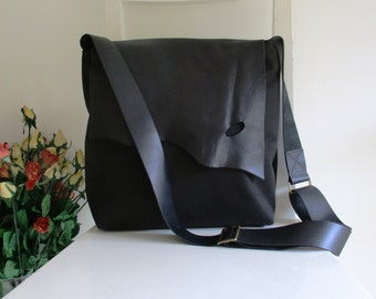 Canvas and Leather Slouchy Messenger in Black