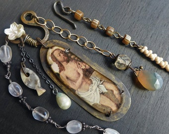 """Rustic art necklace in prong-set resin- """"Humble"""" -Mixed media handmade jewelry"""