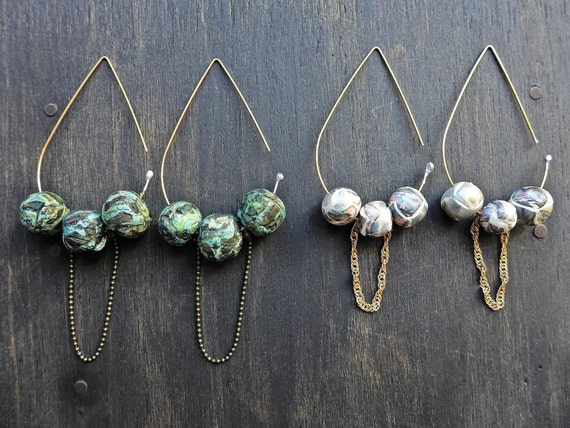 Teardrop art bead earrings- handmade artisan jewelry by fancifuldevices -Rustic Contemporary series.