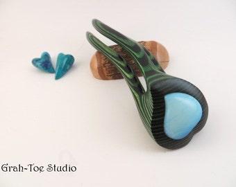 Green Black Webb Wood Hair Fork, Hairfork,Hair Forks, Glass Heart,Valentines Day,Hair Sticks,Gift for her, wooden fork,Avalon Tusk,Hairstick