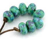 Celadon Luau Handmade Glass Lampwork Beads (8 Count) by Pink Beach Studios (1508)