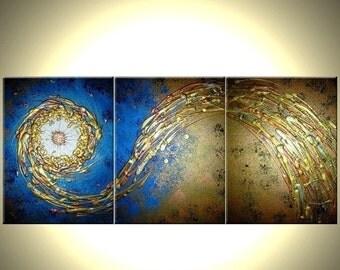Abstract Blue Gold Art, Textured ORIGINAL Modern PAINTING, Blue Gold Starburst, Shooting Star Art, Metallic Painting, 24X54 - Art Sale