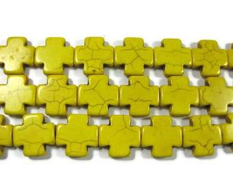 20mm x 20mm Yellow Howlite Cross Beads