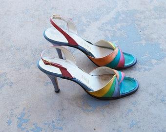 Clearance Sale vintage 70s Sandals - 1970s Rainbow Leather Sandals - High Heel Sandals Sz 7.5 38
