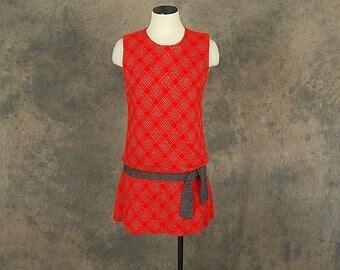 vintage 60s Sweater Dress - Mod Wool Knit Mini Dress - 1960s Red Plaid Drop Waist Dress Sz S M