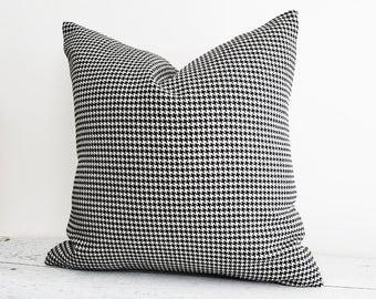 Wool Houndstooth Pillow, Black White Plaid Pillow Covers, Cream Black Pillows, Mens Throw Pillows, Modern Home Decor, 12x18 Lumbar, 18x18