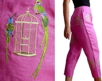 CJ Laing Birds Embroidered Linen Capri/pants