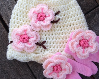 9 months to 2 year old size Hat and mitten set cherry blossom style cream hat with pink mittens