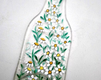 Spoon Rest, Kitchen Trivet,  Melted Clear Beer Bottle,  Hand Painted White Daisies, Flowers, Candle Holder